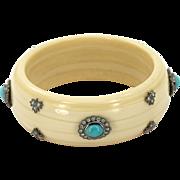 14k Diamond Turquiose Bracelet Bakelite Bangle Estate White Gold