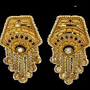20k Dangle Drop Earrings Indian Wedding CZ & Red/Black Enamel Yellow Gold