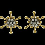14K CZ Star Earrings Yellow Gold