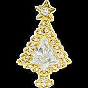 18k Diamond Pendant Christmas Tree 1.23ct Diamond EGL Certified Yellow Gold