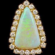 14k Opal Diamond Pendant Vintage 9ct Pear Opal 1.39ct Dia Halo Yellow Gold 60s