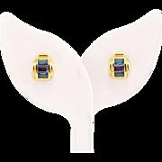 14k Topaz Amethyst Gold Earrings Yellow Gold Beatiful Estate