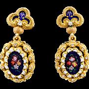 18k Vintage Diamond Earrings Yellow Gold Enamel & Diamond Hand Painted 1930-40's