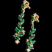 14K Emerald Diamond Earrings Yellow Gold