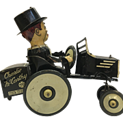Vintage Charlie McCarthy  Benzine Buggy Tin Wind-up Toy