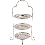 Art Deco Three Tier Silver Plated Cake Stand
