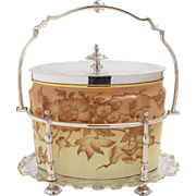 Victorian China Biscuit/Cookie Jar in Silver Plated Caddy, Circa 1880