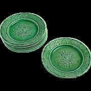 Victorian green glazed Majolica dessert plates