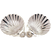 Pair of Vintage English Sterling Silver Shell Shaped Butter Dishes