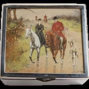 Edwardian Trinket Box with English Hunting Scene