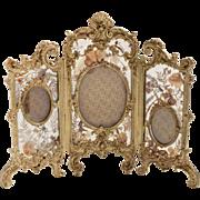 19th C Austrian brass Tri-photograph frame