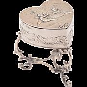 Silver Embossed Trinket Box, Hallmarked London 1896