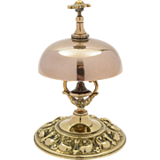 Victorian Brass Shop/Reception Bell with Embossed Decoration, Circa 1890