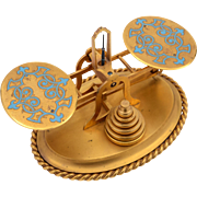 Early Victorian Gilded Brass and Enamel Postal Scales