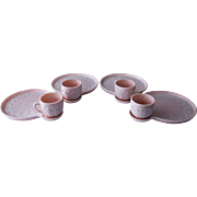 SALE Jeannette Glass Shell Pink Milk Glass Snack Set, Feather Pattern, Late 1950's