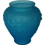 Vintage Large Tiffin Sky Blue Satin Glass Poppy Vase LABEL INTACT