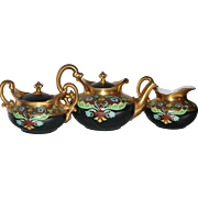 Signed T&V Stouffer Limoges Porcelain Teapot Creamer & Sugar Set in Black & Gold Art Nouveau
