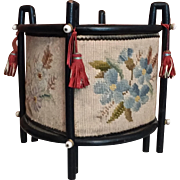 French Napoleon III tapestry Cache Pot with a floral decor.