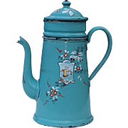 Hand painted French blue enamel coffee pot : Boats and flowers.