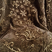 France 18th century:a golden metal thread embroidered piece of velvet.