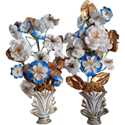 Lovely French 19th c.wedding pair of vases with flowers bouquets.