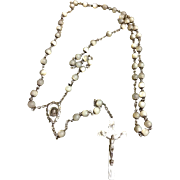 Vintage Sterling Silver & Glass Bead Rosary Beads Roma 22 Inches Long