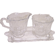 Fostoria Chintz Creamer and Sugar on Tray