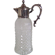 Pressed Glass Decanter with Silverplated Lid and Ornate Handle