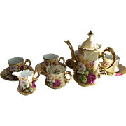 Lefton Coffee Set with Red and White Roses