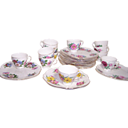 Service for 12 Bone China Snack Trays with cups