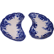 Pair of Alfred Meakin Flow Blue Bone Dishes