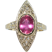 Russian 9k Yellow Gold 2.30ctw Genuine African Ruby & Rose Cut Diamond Ring 3.8g