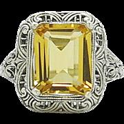SALE Vintage Genuine 3.79ctw Citrine Sterling Silver Filigree Ring 3.7g size 8
