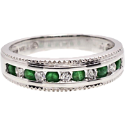 SALE vintage Estate 14k White Gold 1/2ctw Genuine Emerald & F-SI1 Diamond Band Ring 3g