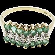 SALE Vintage Art Deco Estate .77ctw Genuine Muzo Emerald & Old Cut Diamond 10k Yellow Gold ...