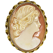 SALE Antique Victorian 10k Yellow Gold Lady Shell Cameo Brooch Pin Pendant 8.7g