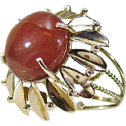 SALE Designer 14k Gold 10.00ct Cabochon Red Lace Agate Flower Dinner Ring 7.4g ...