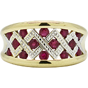 Vintage 18k Two-Tone Gold 1.00ctw Rose Cut Genuine Ruby Ring Band 5.5g ...