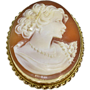SALE Antique Victorian 14k Yellow Gold Lady Shell Cameo Brooch Pin Pendant 6.1g