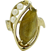 SALE Genuine Pearl and Mystery Stone 14KT Yellow Gold Ring 3.8g Size 7.5