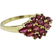 SALE Vintage 1.20ctw Genuine Thailand Ruby Cluster 14k Yellow Gold Ring Size 8