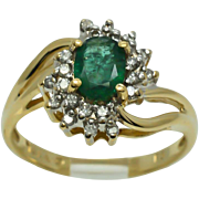 SALE Vintage Estate Genuine .92ctw Colombian Emerald & H-SI Diamond 14k Yellow Gold Ring 3 ...