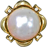 SALE Vintage 18K Gold 18mm Cultured Freshwater Mabe Pearl & Diamond Ring 12.3g