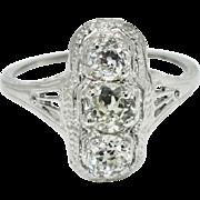 SALE Art Deco 1.00ctw G-SI Genuine European Cut Diamond Platinum Engagement Ring Size6.5