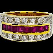 SALE Vintage 18k Gold 1.30ct F-SI1 Brilliant Cut Diamond & Genuine AAA Ruby Ring ...