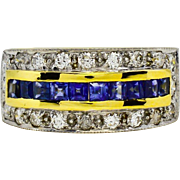 SALE Vintage 18k Gold 1.30ct G-SI2 Brilliant Cut Diamond & Genuine Sapphire Ring 6.6g