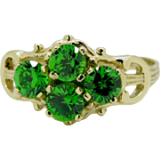 Vintage 1.00ctw Genuine Chrome Diopside 10k Yellow Gold Ring Size 6.25