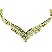 1.14ctw G-SI Diamond Cluster 14KT Yellow Gold Lavalier Necklace 10.6g