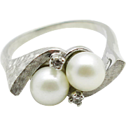SALE Antique 10k White Gold H-SI Genuine Diamond & 6mm Pearl Ring 4.5g - Size 5.5