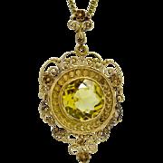 Victorian 3.21ctw AAA Grade Citrine 14KT Yellow Gold Filigree Milgrained Pendant